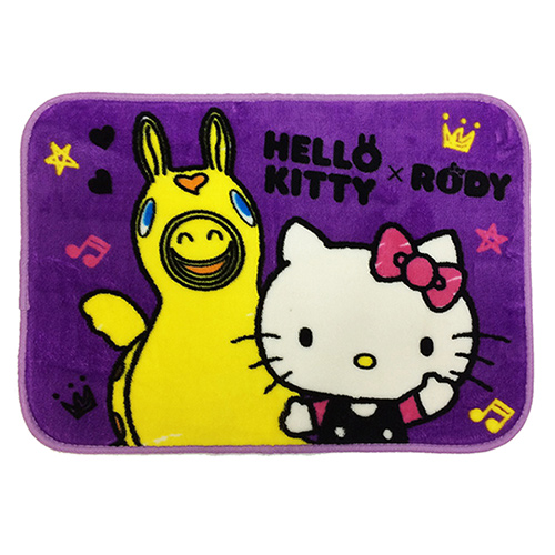 【HELLO KITTY & RODY】Hello Friend法蘭絨地墊 (紫色)