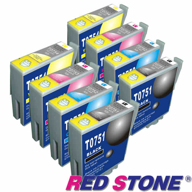【RED STONE 】for EPSON T0751.T0752.T0753.T0754墨水 (四色一組)/2組裝