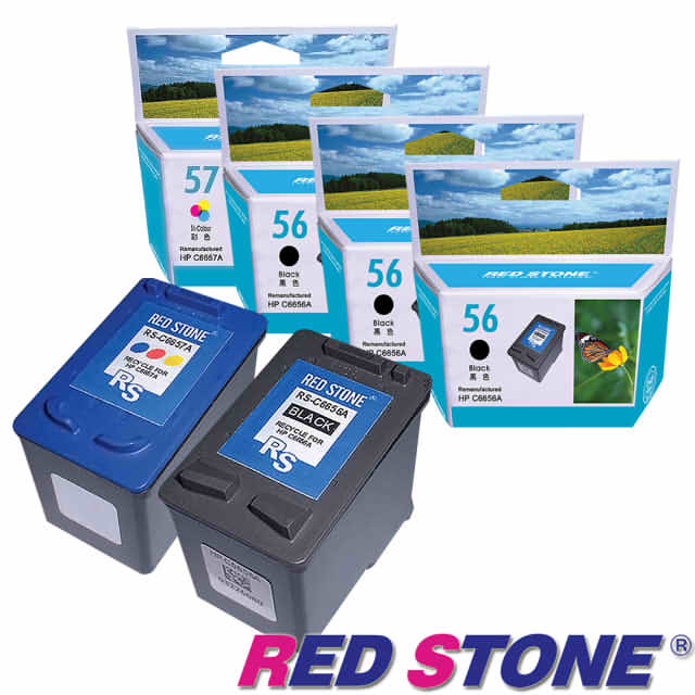 【RED STONE 】for HP C6656A+C6657A環保墨水匣NO.56+NO.5 (三黑一彩)優惠組