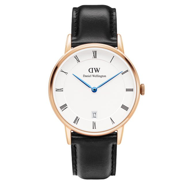 【DW Daniel Wellington】Dapper時尚黑色皮革腕錶 金框/34mm(1131DW)