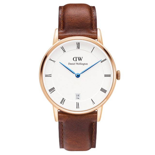 【DW Daniel Wellington】Dapper時尚棕色皮革腕錶 金框/34mm(1130DW)