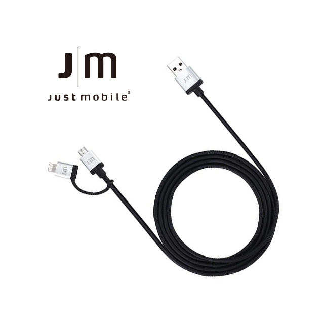 【Just Mobile AluCable】 Duo™ 鋁質Lightning/Micro USB 雙用連接長線(1.5m)