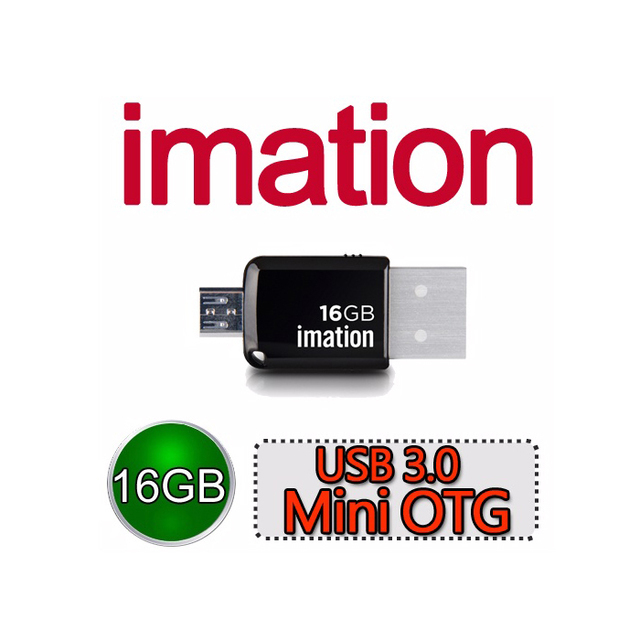 【Imation】Mini OTG 3.0 16GB(黑) 2入超值組 IMN-USB3.0-16G-BK