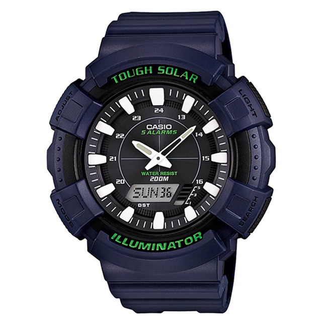 【casio】太陽能運動雙顯錶-藍 ad-s800wh-2a